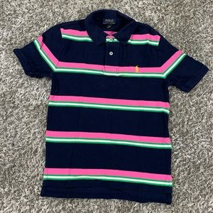 Polo Ralph Lauren BlueStriped Polo Youth Med 10-12